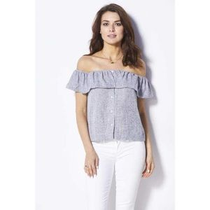 FRNCH Button Down Off the Shoulder Top